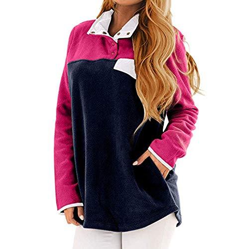 Preisvergleich Produktbild Sannysis Damen Pullover Langarmshirt Lässige Farbe Block Stehkragen Pocket Soft Fleece Sweatshirt Pullover