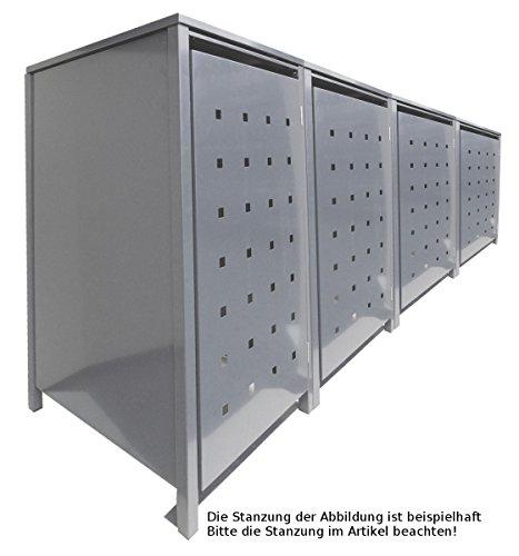 BBT@ | Solide Mülltonnenbox für 4 Tonnen je 240 Liter mit Klappdeckel in Silber (RAL 9006) /...