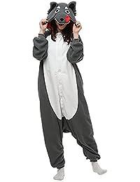 SAMGU Hiver Onesie Pyjamas Adulte Une pièce Loup Animal Vêtements de nuit