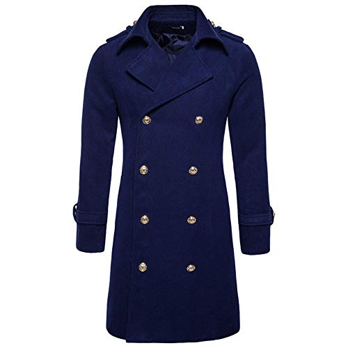 KPILP Herren Warme Winter Trench Revers Woolen Elegante Lange Outwear Zweireiher Windjacke Revers Smart Mantel(G-Marine,EU-54/CN-M)