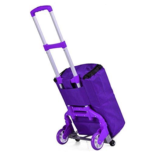 FXJ Einkaufsgepäck Faltbarer tragbarer PVC-Beutel-Aluminiumlaufkatze kann Gewicht 75kg widerstehen (Farbe : Purple)