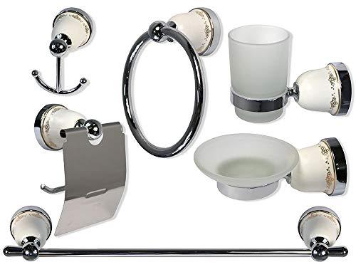 Set da bagno neoclassico in ceramica bianca bombata acciaio cromato vetro satinato opaco decorazioni 6 pz