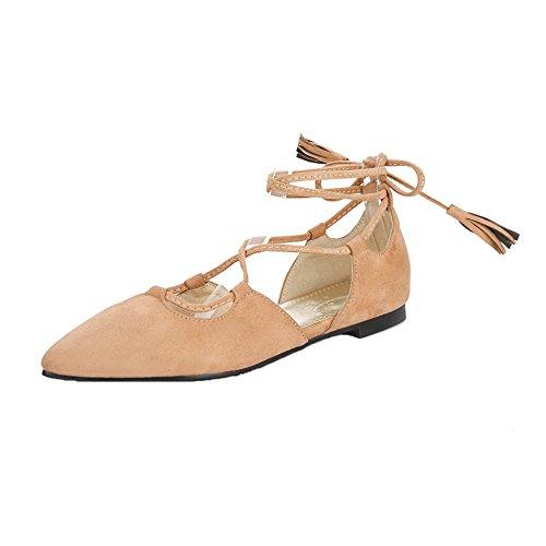 AgeeMi Shoes Womens Lace-Up Suede Plano de Salón,EuD54 Marrónclaro 36