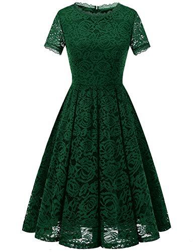 Dresstells Damen Midi Elegant Kleid Hochzeit Spitzenkleid wadenlanges Kurzarm Cocktail Ballkleid...