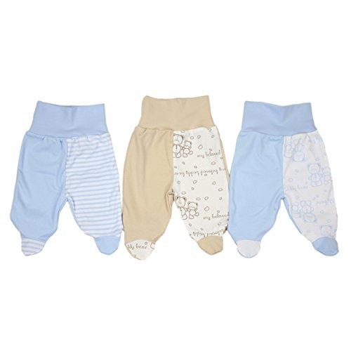 3er Pack Baby Strampelhose Hose mit Fuß 100% Baumwolle Pumphose Mädchen Babyhose Junge, Farbe: Junge, Größe: 62
