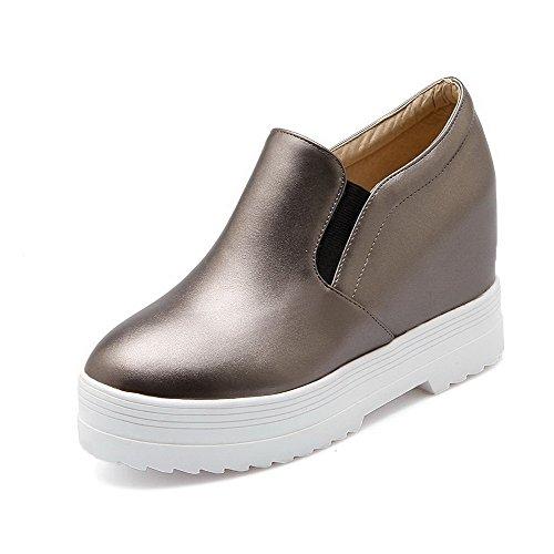 AgooLar Damen Hoher Absatz Rein Ziehen Auf Rund Zehe Pumps Schuhe Grau