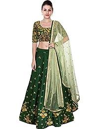 075e9cc2b7777 jinnar Women s TaffetaSilk Semi-Stitched Lehenga Choli (Green-butti Free  Size)
