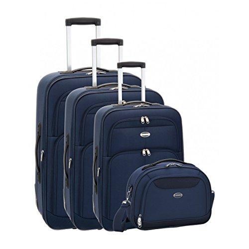Set de 3 valises chariot et un beauty case moscow bleu