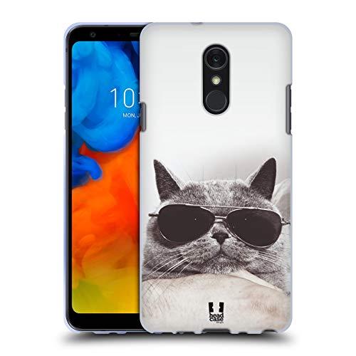 Head Case Designs Graue Britische Katze Mit Sonnenbrille Katzen Soft Gel Huelle kompatibel mit LG Q Stylus/Q Stylo 4