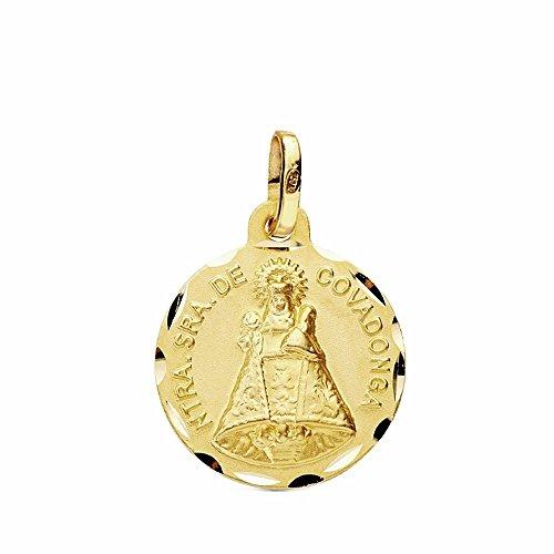 Medalla Oro 18K Virgen Covadonga 16mm. Tallada [Ab3440Gr] - Personalizable - Grabación Incluida En El Precio