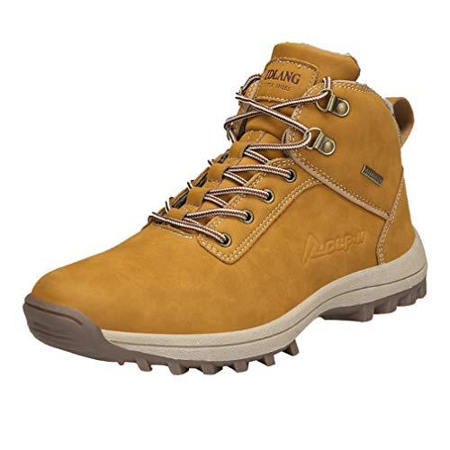 juqilu Winterschuhe Schneeschuhe Herren Outdoor Plus Velvet Short Ankle Boots Im Freien Warme Sport Anti-Rutsch-Trekking Wanderschuhe Kamel