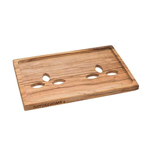NATUREHOME Olivenholz Seifenschale natürliche Hartholz Schale eckig - 15x10x1 cm Seifenhalter am Waschbecken für Bad oder Küche -