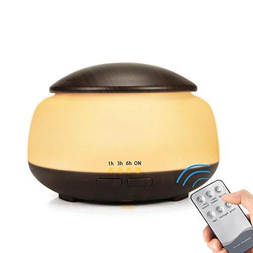 ACCDUER Aromatherapie-Diffusor für ätherische Öle Ultraschalldiffusoren Kühler Nebelbefeuchter mit einstellbarem Nebelmodus 7 LED-Lichtfarben,DarkWoodGrain