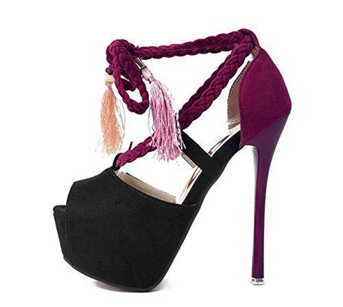 GLTER Mujeres Plataforma Bombas Zapatos Peep Toe Negro Sandalias de tacón alto Boca Impermeable Zapatos Femeninos Corte Zapatos Bombas Correa Tobillo Tacón Cono Ladies Bombas , black , 37