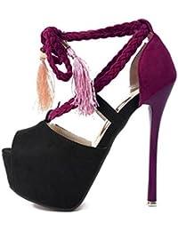 SHINIK Mujeres Plataforma Bombas Zapatos Peep Toe Negro Sandalias de tacón alto Boca Impermeable Zapatos Femeninos Corte Zapatos Bombas Correa Tobillo Tacón Cono Ladies Bombas , black , 38
