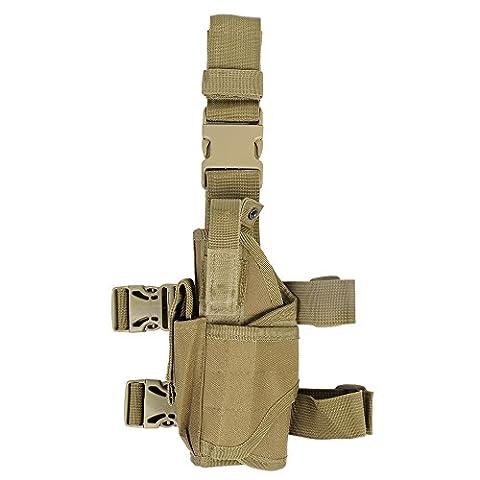 Taktisches Universalpistole-Handgewehr-Tropfen-Bein-Holster w / Mag-Beutel-linkshändiges Tan
