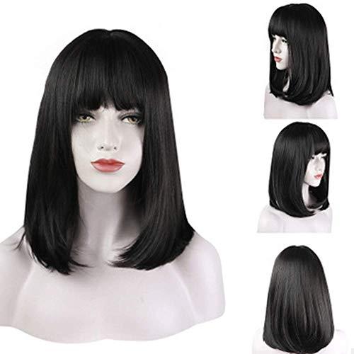 CXXX Frauen - perücke, Frauen Langes, glattes Haar in der Schnalle, schulterlange Haare (Schwarz Und Weiß überprüft Kleid)