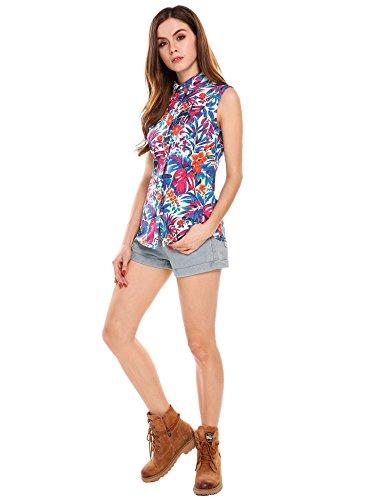 Meaneor Tops Damen Hawaii Bluse Strand Oberteil Sommer Armlos Shirt für Urlaub in 4 Farbe Blumen Freizeit Aloha Hawaii Blusen mit elastischem Material Funky Hawaiihemd M (Hawaii-shirt Große)