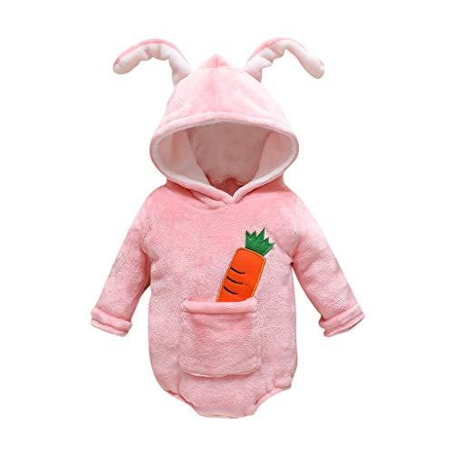 Livoral Baby Winter Jacke Overall Neugeborenes Baby Mädchen Jungen Langarm Cartoon Fleece mit Kapuze Overall(Rosa,0-3 Monate)