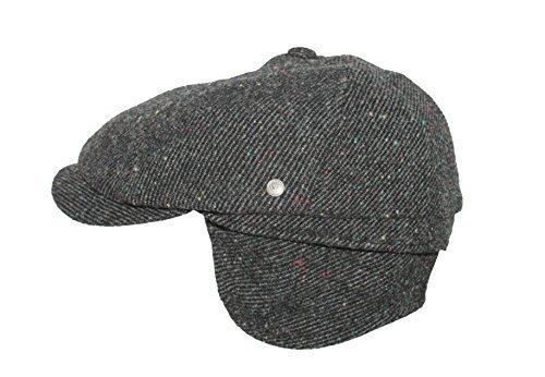 Large-hiver paperboy bonnet avec protège-oreilles gris/oreillettes