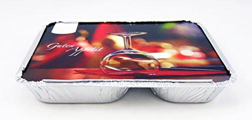 """100 Alu-Menü-Schalen eckig mit Motiv Deckel \""""Gourmet\"""" • 2-geteilt • flach • 227 x 177 x 30 mm • Aluminium Schale 2-Fach • Alubehälter mit bedrucktem Kartondeckel • alukaschiert"""