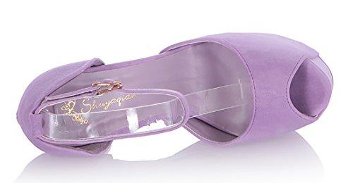 UH Escarpins Femmes Bout Rond Peep Toe avec Boucle de Bride Cheville à Talon Aiguille Super Haut de 16CM Violet