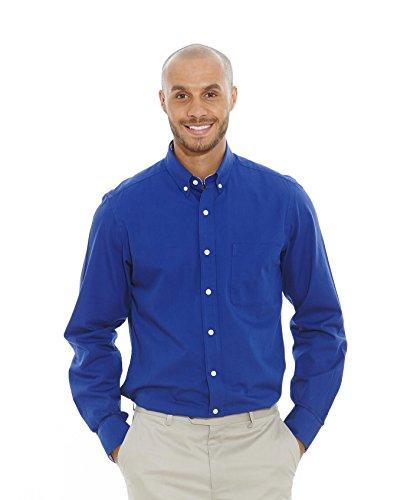 Savile Row Men's Royal Blue Fine Twill Slim Fit Casual Shirt Royal Blue