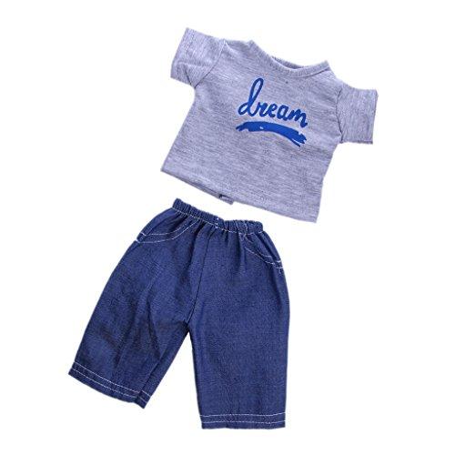 Sharplace Puppen Freizeitkleidung T-Shirt & Jeanshosen Bekleidung für 18 Zoll Junge Puppen (18-zoll-puppe T-shirt)