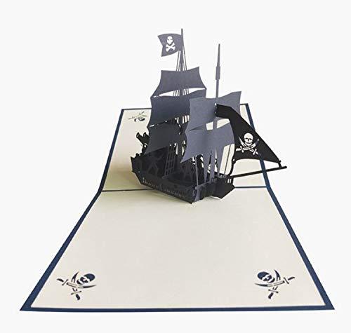Handmade 3D Pop-up Geburtstagskarte Karibik Piratenboot Schiff Jolly Roger Kriegskampf Vatertag Halloween Junggesellenabschied Party Einladung