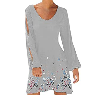 BaZhaHei Summer Beachwear Loose Sundres Dress for Women Casual Long Sleeve T-Shirt Mini Dress Floral Print Party Holiday Bohemia Beach Dress Gray
