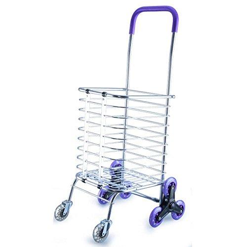 WYFC Falten Einkaufswagen Treppensteigen Grocery Wäscherei Utility Cart mit acht Räder Edelstahl Frame Einkaufstrolleys (Mit Utility Cart Räder)