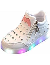 BYSTE Bambino Bambini Tinta Unita Scarpe Piatte Scarpe da Ginnastica Casual PU Scarpe Pigre Ragazzi Ragazze Scarpe da Ginnastica Scarpe Sportive Sneaker (23 EU, Bianca)