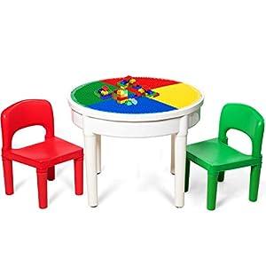 COSTWAY Kinder Tischset mit Staufach, Sitzgruppe Kinder, 3tlg. Kindersitzgruppe, Spieltischset bestehend aus 2 Stühlen…