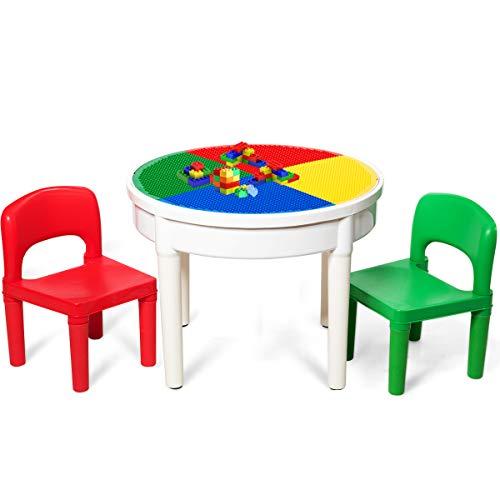 COSTWAY Kinder Tischset mit Staufach, Sitzgruppe Kinder, 3tlg. Kindersitzgruppe, Spieltischset bestehend aus 2 Stühlen und 300 kleinen Blöcken, Bausteintisch für Kinder ab 3 Jahren, Mehrfarbig
