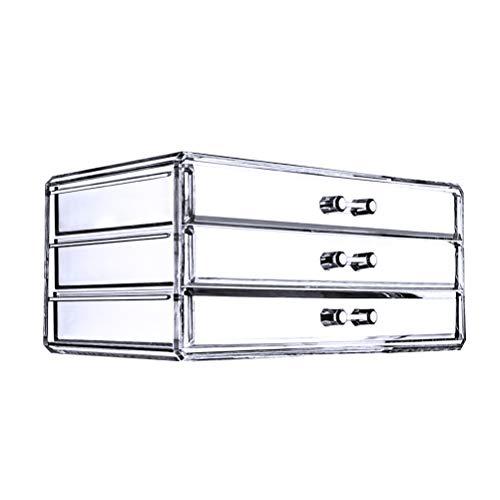 FRCOLOR 3 rangées organisateur de maquillage boîte de rangement porte-outil cosmétique bijoux montres affichage cube avec 3 grands tiroirs amovibles longs