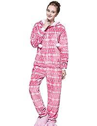 Pijama de Una Pieza - Onesie Ropa de Dormir Pijamas Entero con Capucha - Mono para
