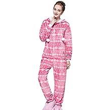 Pijama de Una Pieza - Onesie Ropa de Dormir Pijamas Entero con Capucha - Mono para Mujer