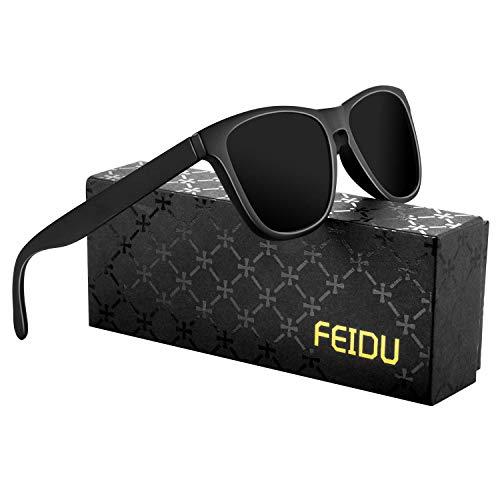 FEIDU Retro Polarisierte Damen Sonnenbrille Herren Sonnenbrille Outdoor UV400 Brille für Fahren Angeln Reisen FD 0628 (Schwarz, 60)