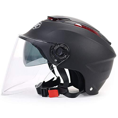 Elektrische Motorrad Helm Sommer Persönlichkeit Kühle Auto Doppelscheibe Sonnencreme Männer Und Frauen Vier Jahreszeiten Universal halb bedeckt Helm (Color : Black)