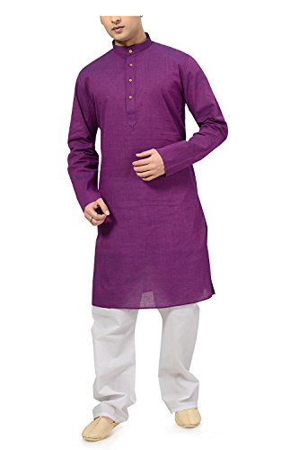 Ishin Cotton Purple Wedding Wear Festive Wear Casual Wear Party Wear Bollywood Solid New Collection Latest Design Trendy Men's Kurta Pyjama (Pajama) Set  available at amazon for Rs.799