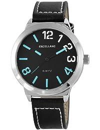 Excellanc 295071300120 - Reloj para hombres, correa de cuero color negro
