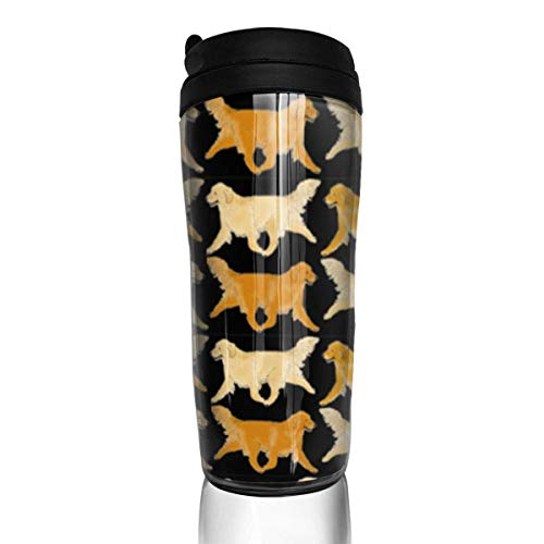 Travel Coffee Mug Trotting Golden Retriever 12 Oz Spill Proof Flip Lid Water Bottle Environmental Protection Material ABS