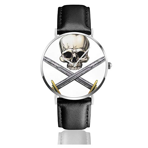 Business Analog Watches,A Human Skull and Crossed Swords Pirate Style Classic Stainless Steel Quartz Waterproof Wrist Watch with Leather Strap