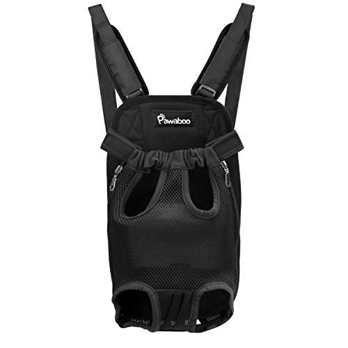 Pawaboo Rucksack für Haustier, Verstellbare Haustiertasche Beinen Out Hunde Rucksäcke, Tragbare Reisetasche Transporttasche für Hunde Katzen, XL, Schwarz