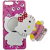 Aarnik Baby Doll Cute Lovely Mirror Hello Kitty Back Case Cover Oppo A3s - Multi Colour