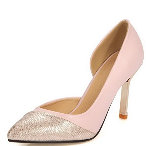 AllhqFashion Femme à Talon Haut Couleur Unie Tire Matière Souple Pointu Chaussures Légeres Rose