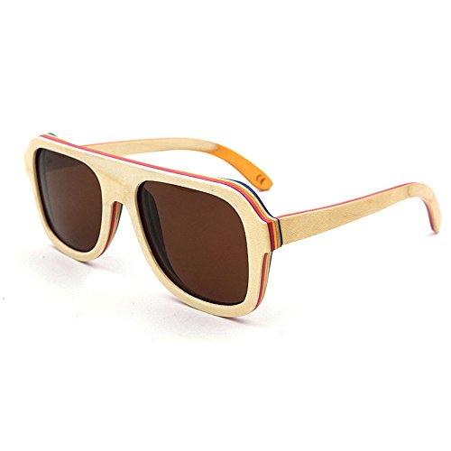 Ppy778 UV400 Bambus Sonnenbrillen, Unisex Retro Holzoptik Gläser, Classic Wood Shades Damen Herren (Color : BEIGE)