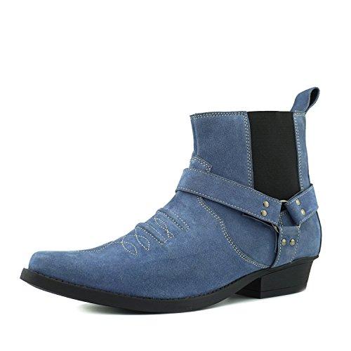 Kick Footwear Herren Cowboy-Western Knöchel Wildleder Stiefel Ziehen Sie auf Kubanische Ferse - UK 11/EU 45, Blue Suede (Lace-up Leder Western Stiefel)