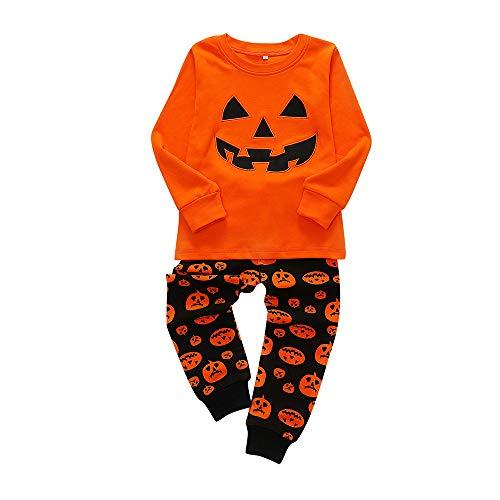 2 PCS Halloween Citrouille Imprimer Tops + Long Pantalon Ensemble Outfit, QinMM Deguisement Enfants Garçons Filles Mode Costume Carnaval Anniversaire Mariee Cosplay 2-7 Ans