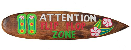 Surfboard 100cm Dekoration Flip Flop Zone Surfbrett im Tiki Beach Style Hawaii